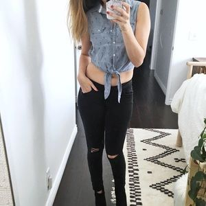 Chambray blue Jean button down tie up tank top